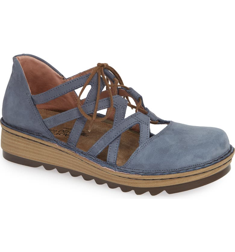 NAOT Calathea Ghillie Laced Wedge, Main, color, FEATHERY BLUE NUBUCK