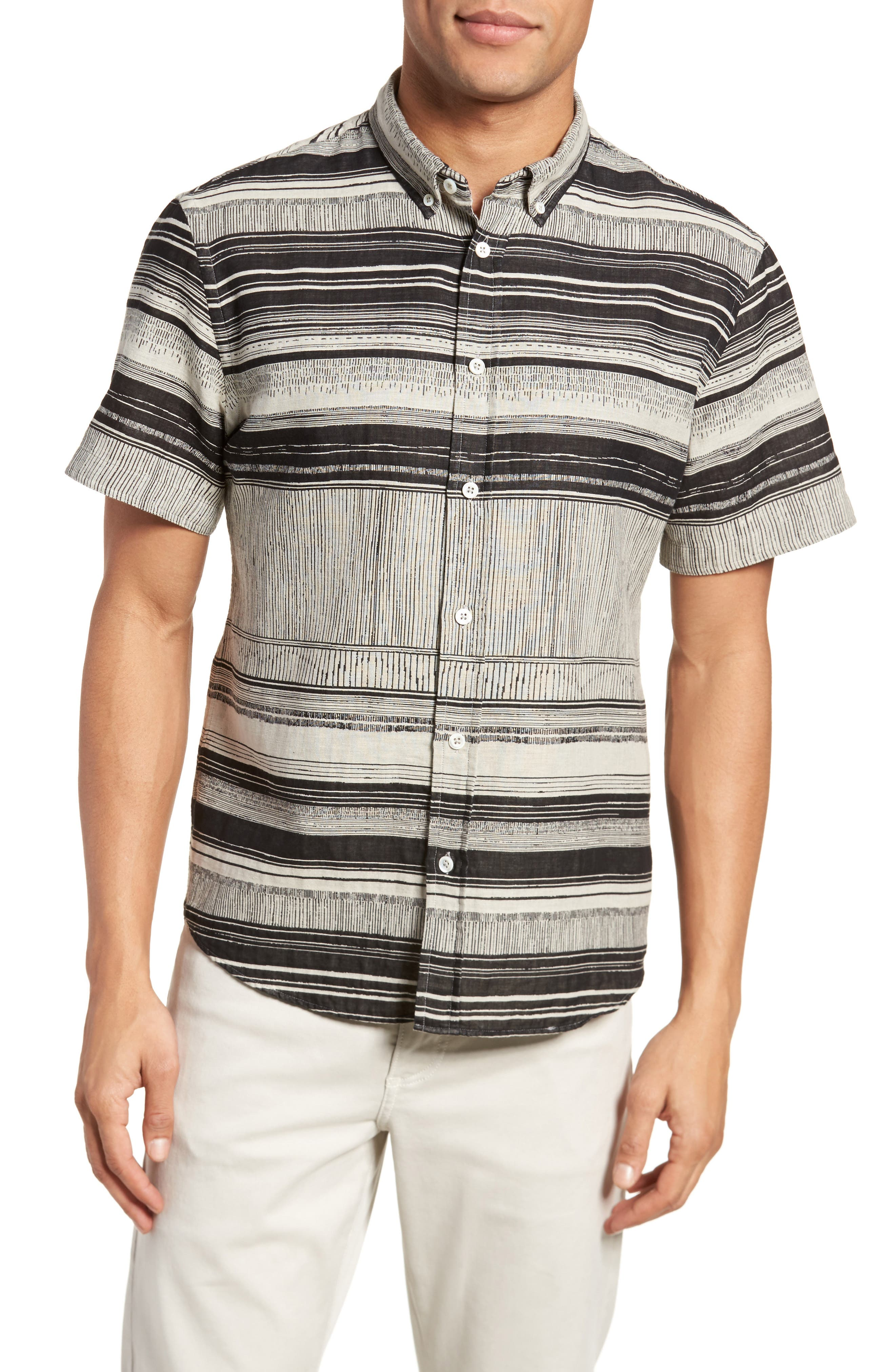 Image of Billy Reid Murphy Stripe Short Sleeve Slim Fit Sport Shirt