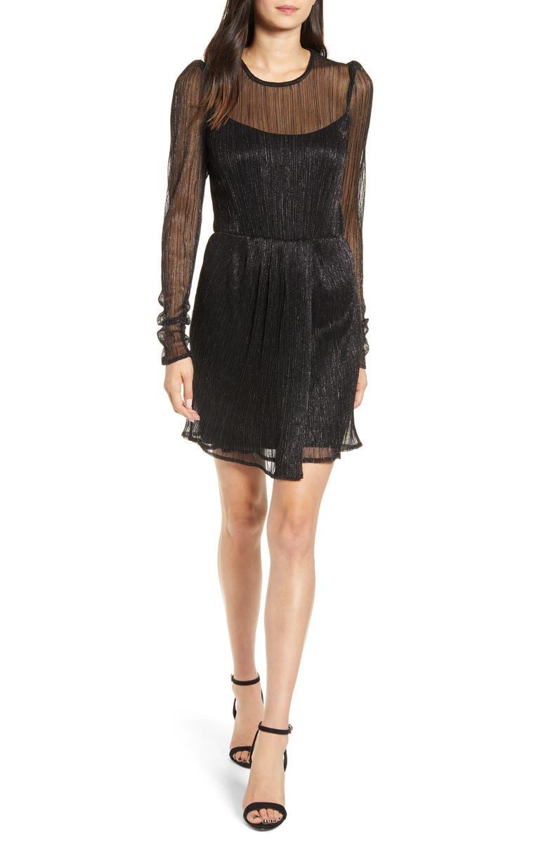 BAILEY 44 Hayley Long Sleeve Metallic Minidress, Main, color, BLACK