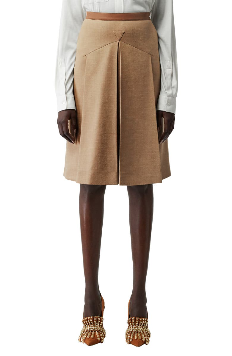 BURBERRY Leather Waistband Pleated Skirt, Main, color, CAMEL