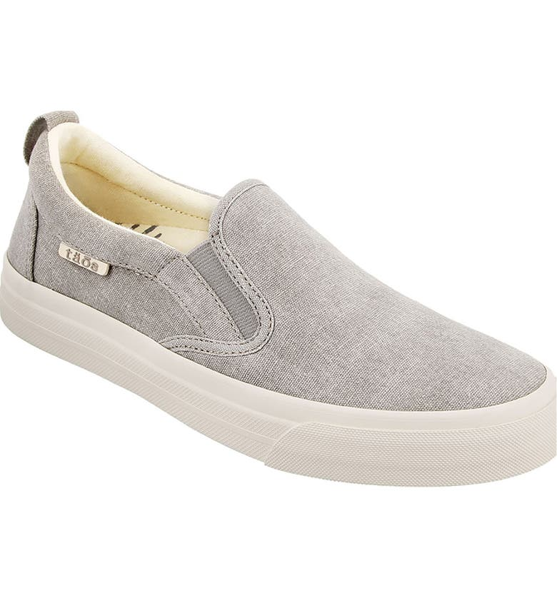 TAOS Rubber Soul Slip-On Sneaker, Main, color, GREY WASH CANVAS