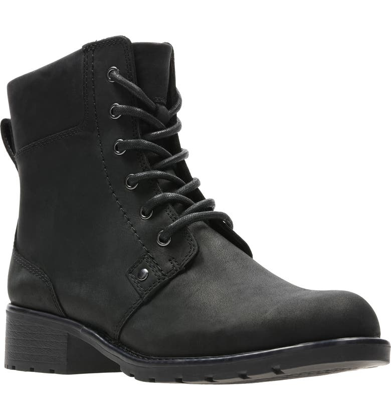CLARKS<SUP>®</SUP> Orinoco Spice Waterproof Boot, Main, color, BLACK LEATHER