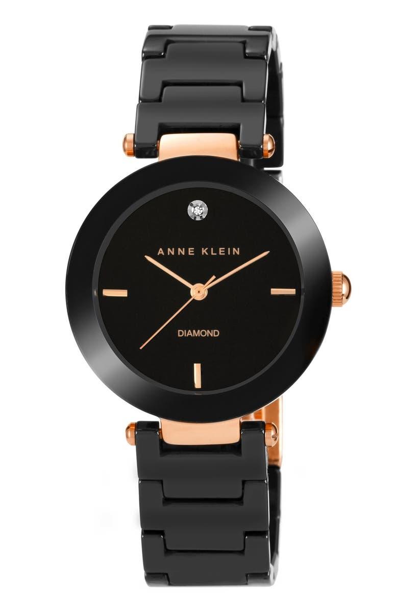 ANNE KLEIN Diamond Dial Ceramic Bracelet Watch, 33mm, Main, color, 001