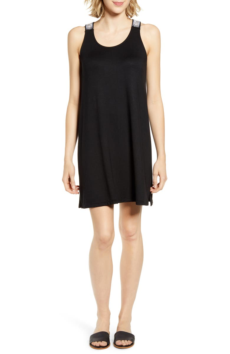 GIBSON x Hi Sugarplum! Sicily Embroidered Racerback Knit Dress, Main, color, BLACK