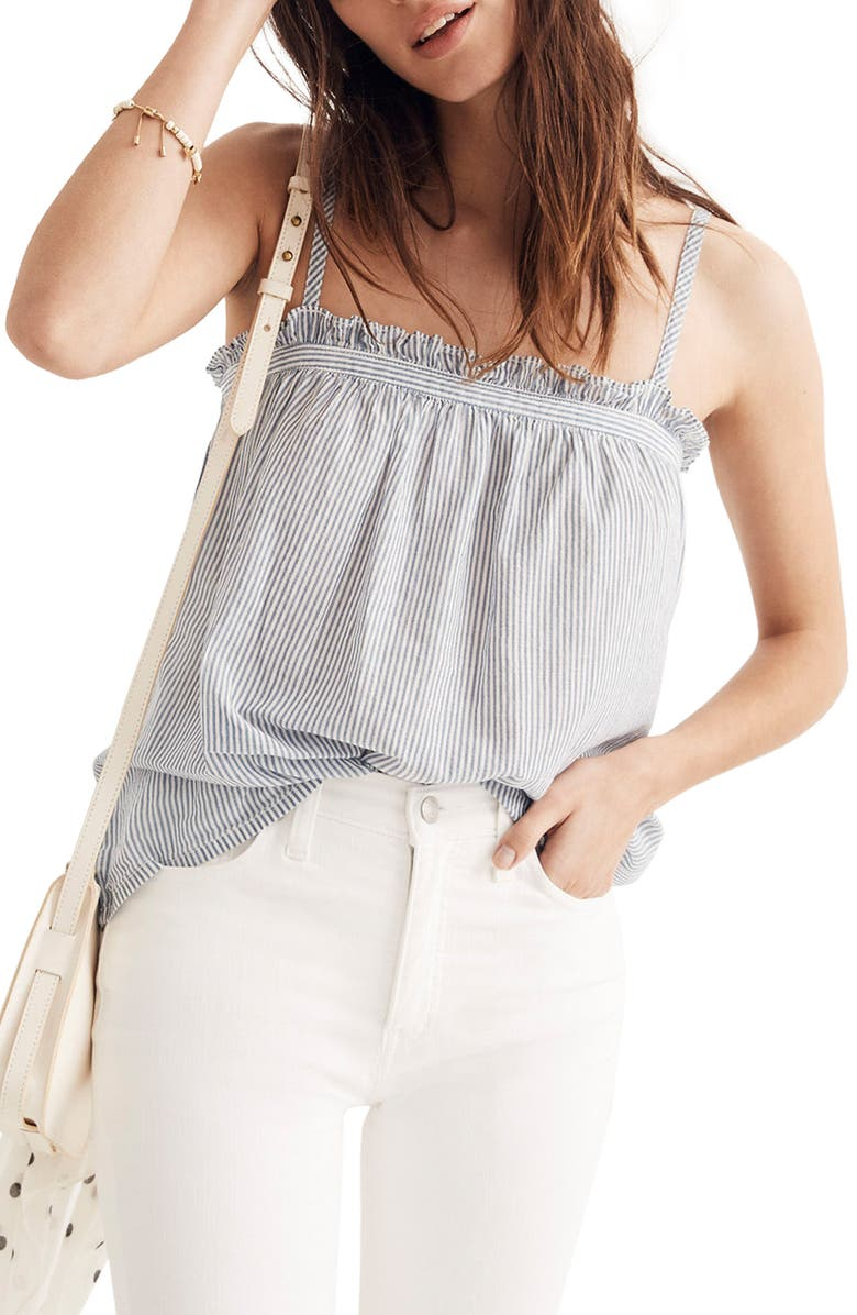 MADEWELL Stripe Tie Strap Camisole, Main, color, 400