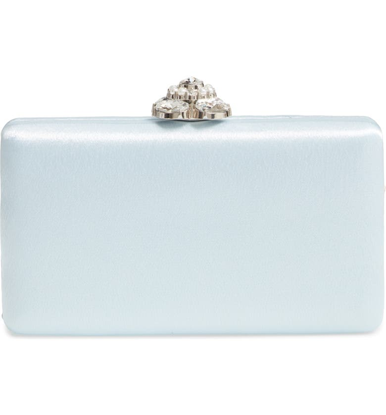 NORDSTROM Crystal Imitation Pearl Clasp Box Clutch, Main, color, BLUE DRIFT