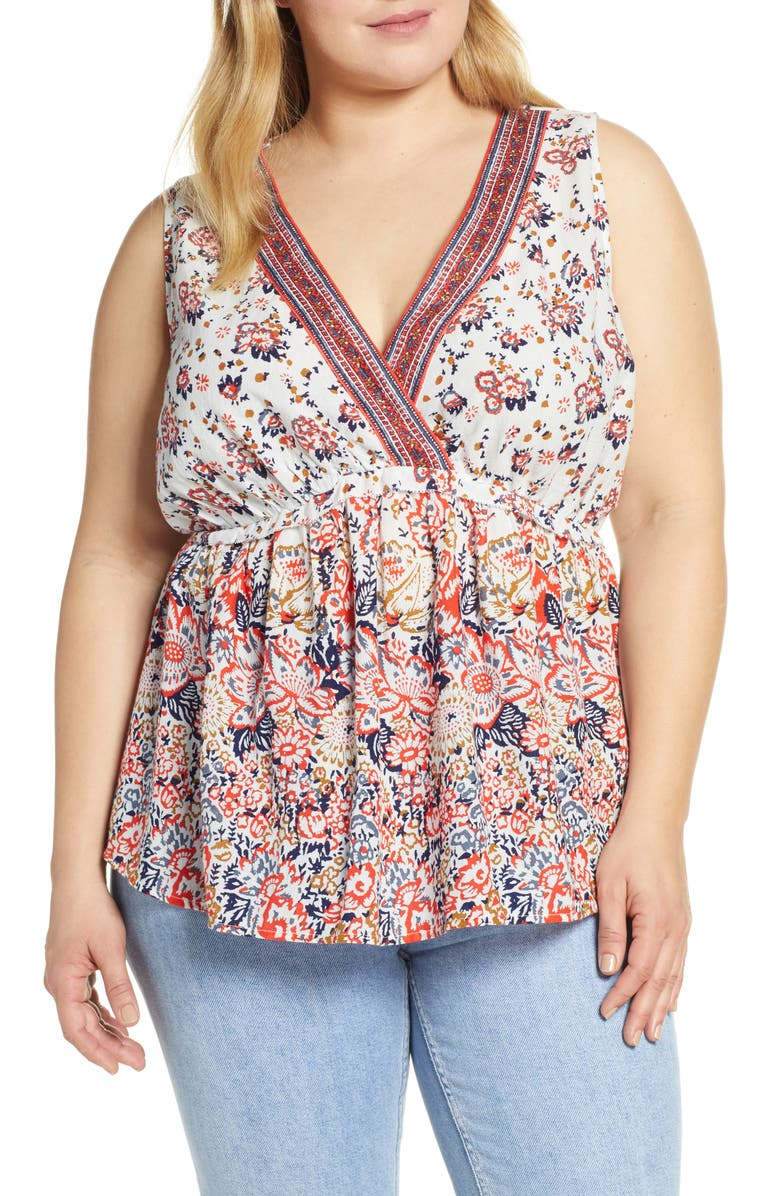 LUCKY BRAND Floral Romantic Top, Main, color, 650