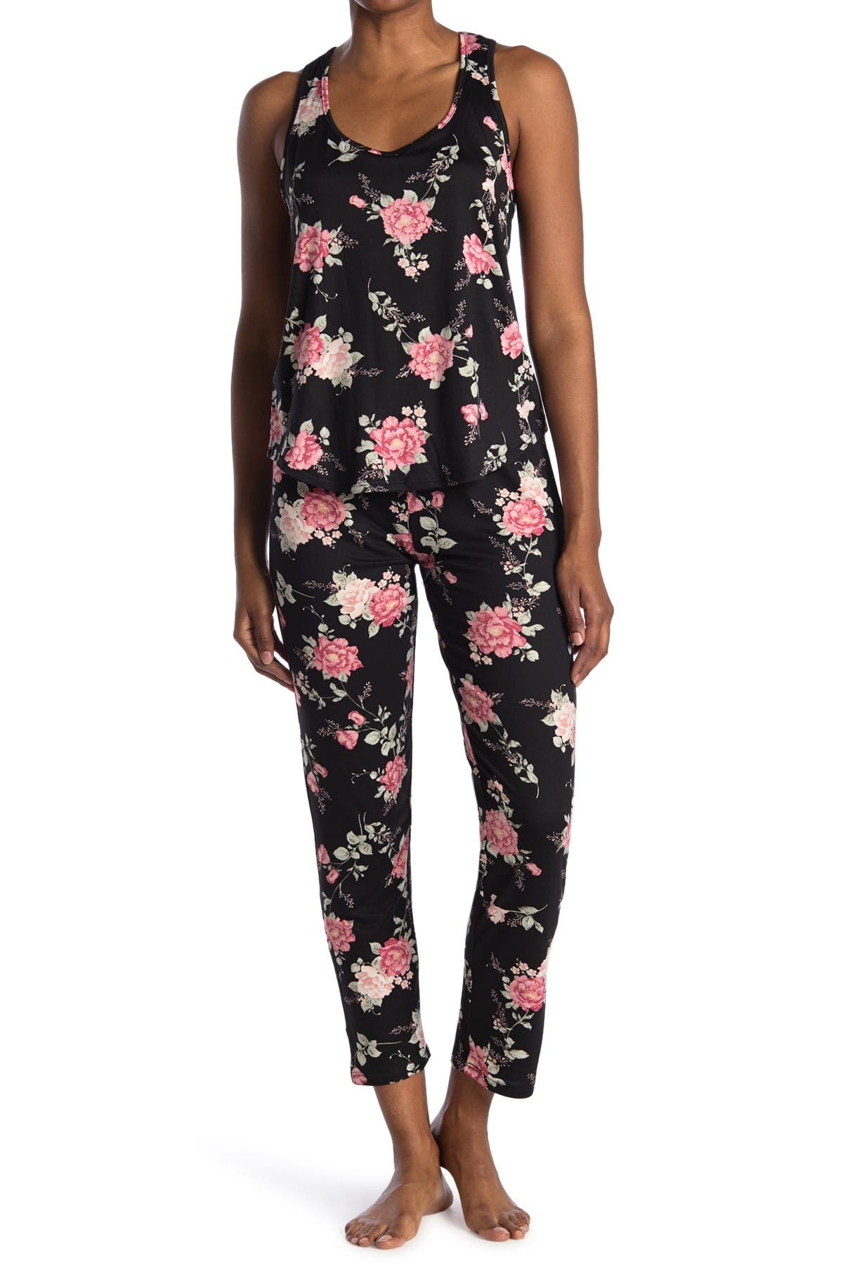 Image of Flora by Flora Nikrooz Livia Floral Print Tank Top & Pants 2-Piece Pajama Set