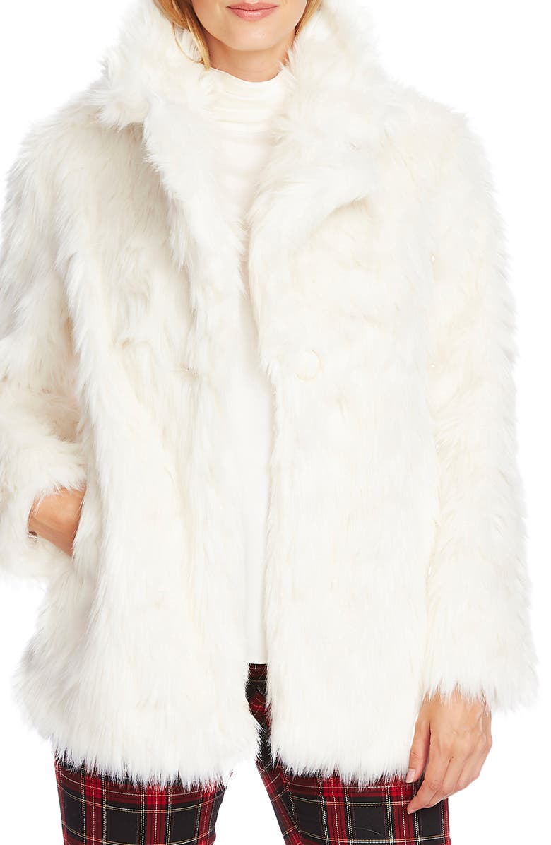 VINCE CAMUTO Shaggy Faux Fur Coat, Main, color, PEARL IVORY