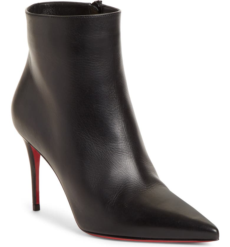 CHRISTIAN LOUBOUTIN So Kate Pointy Toe Bootie, Main, color, BLACK LEATHER