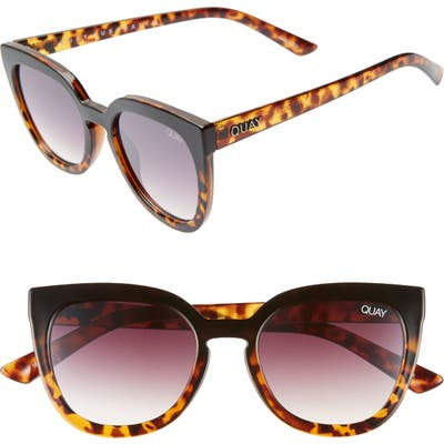 Quay Australia Noosa 50Mm Square Sunglasses - Black To Tort / Brown Fade