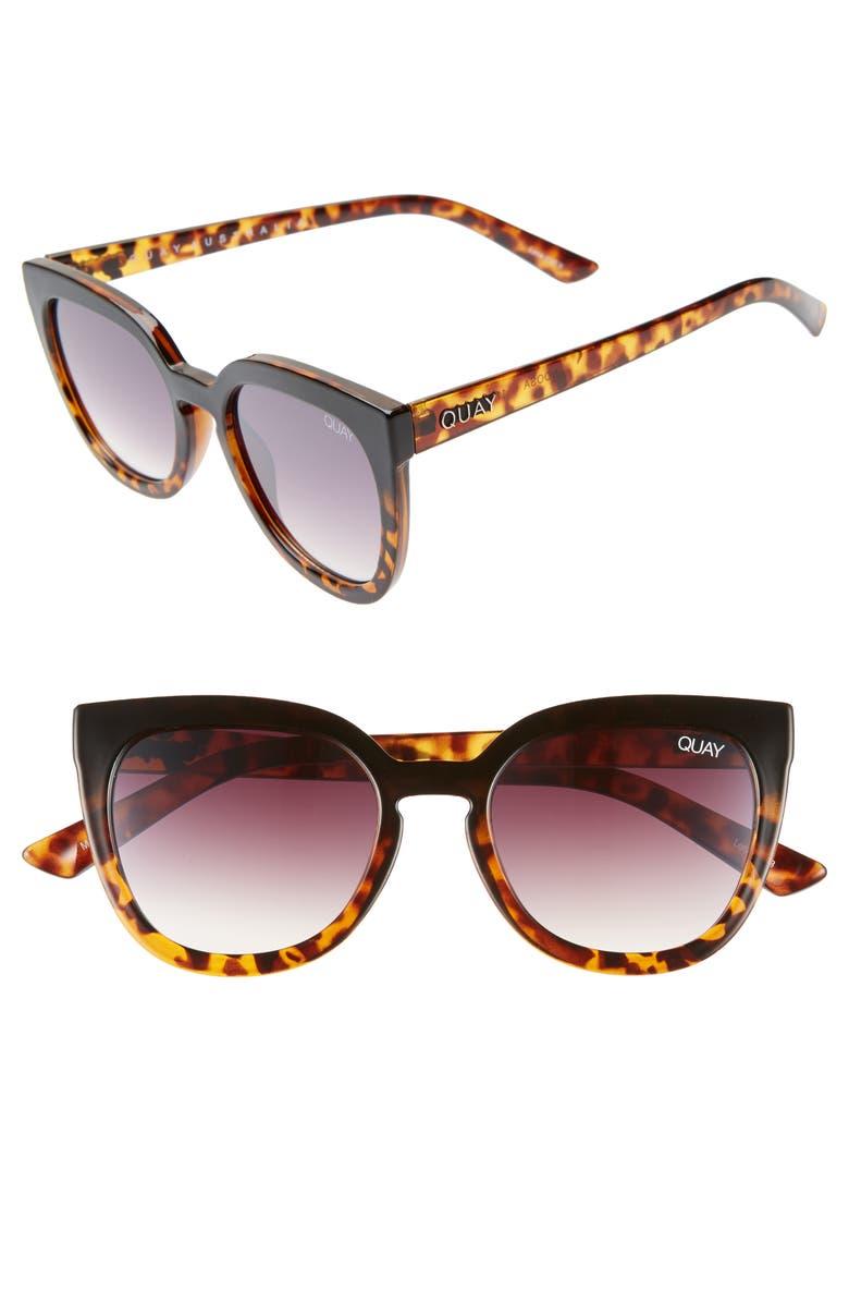 QUAY AUSTRALIA Noosa 50mm Square Sunglasses, Main, color, BLACK TO TORT / BROWN FADE