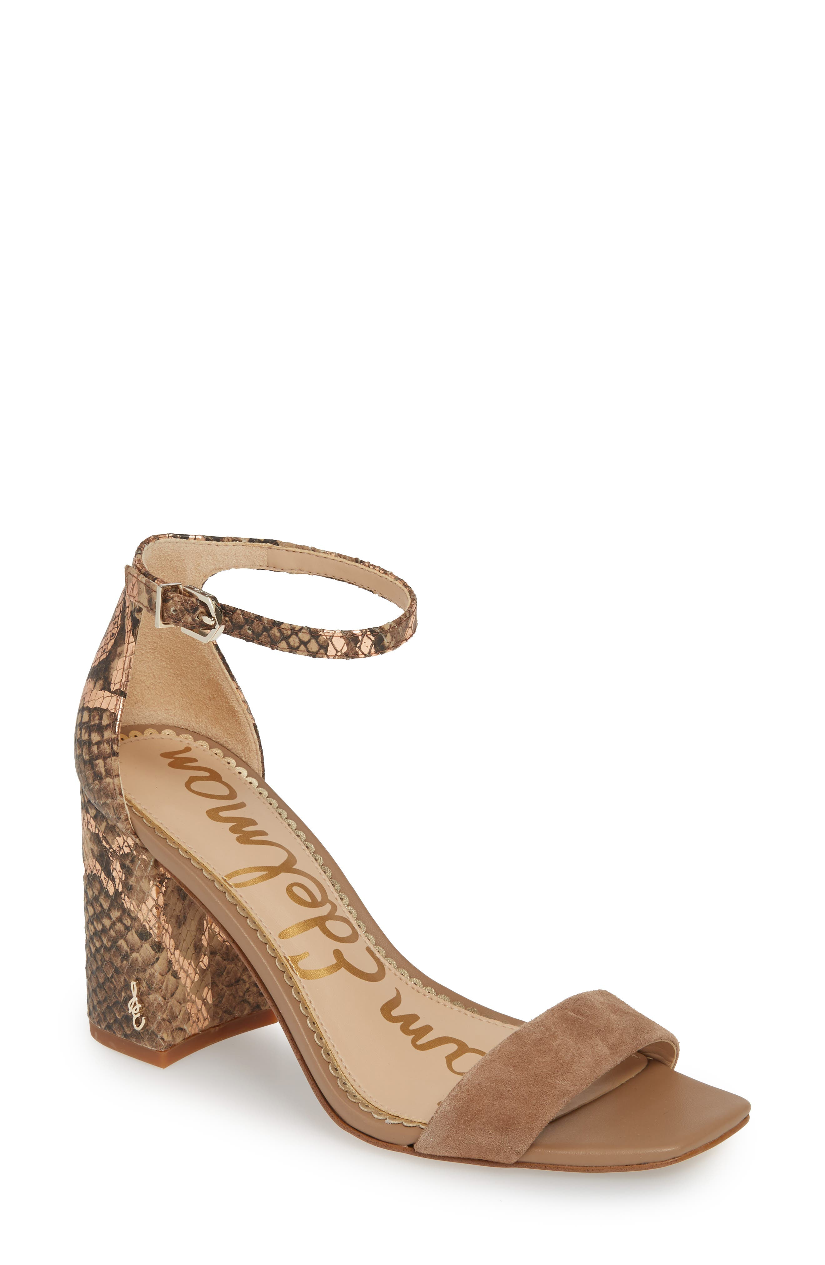 Image of Sam Edelman Daniella Snakeskin Embossed Block Heel Sandal