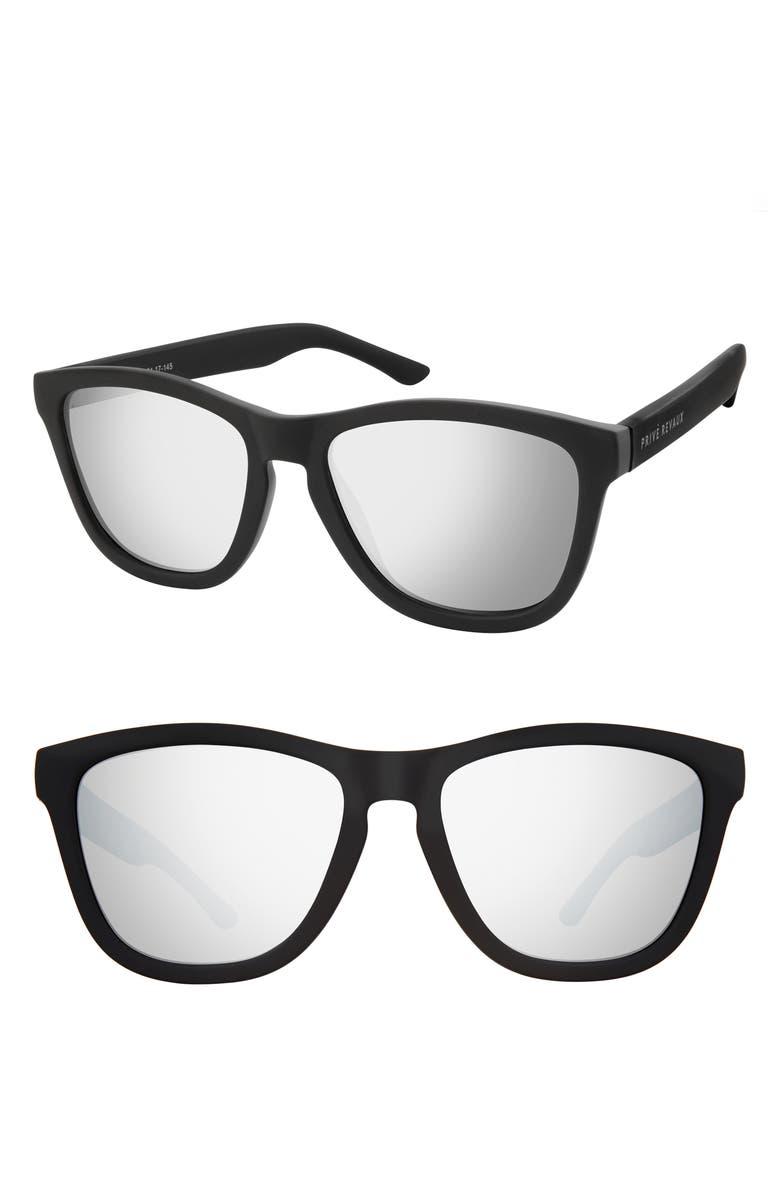 PRIVÉ REVAUX The Olympian 53mm Polarized Sunglasses, Main, color, MATTE BLACK