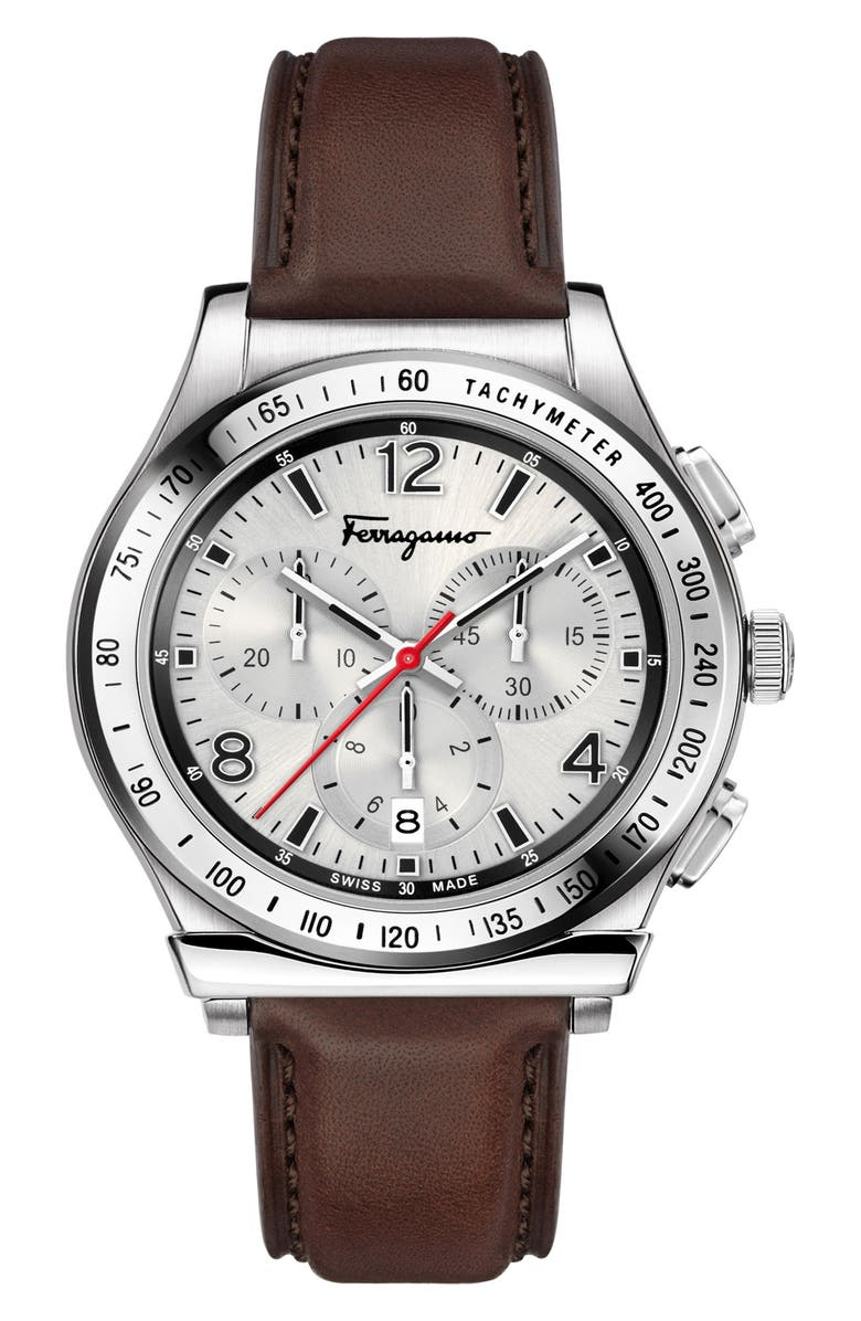 SALVATORE FERRAGAMO 1898 Chronograph Leather Strap Watch, 42mm, Main, color, BROWN/ SILVER