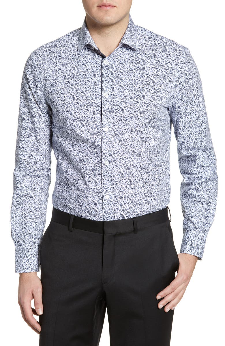 JOHN VARVATOS STAR USA Slim Fit Print Stretch Dress Shirt, Main, color, SAPPHIRE