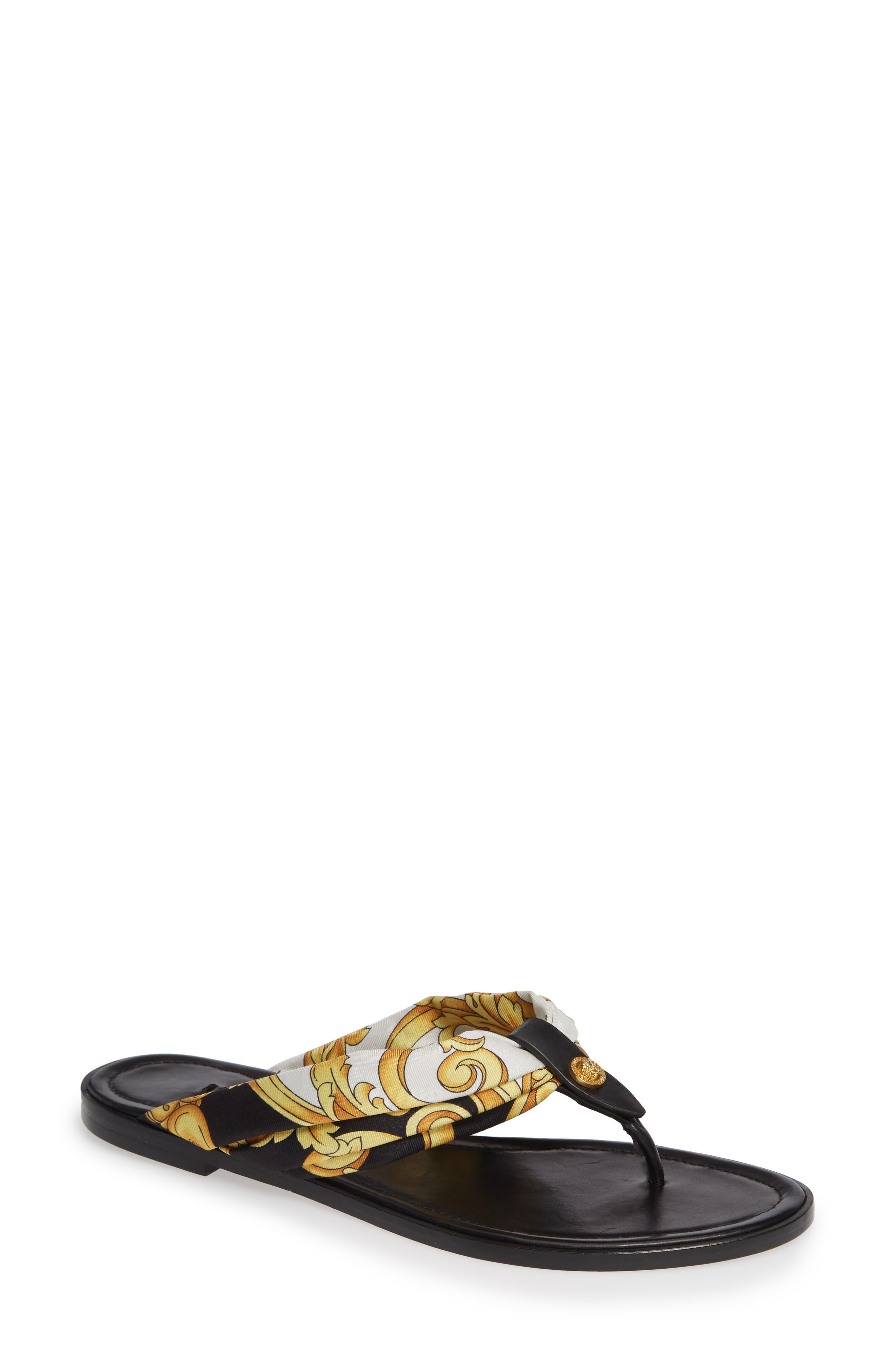,                             Hibiscus Flip Flop,                             Main thumbnail 1, color,                             BLACK MULTI