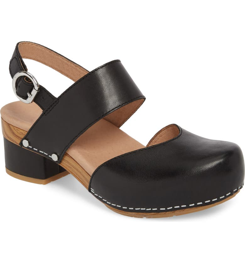 DANSKO Malin Sandal, Main, color, BLACK LEATHER