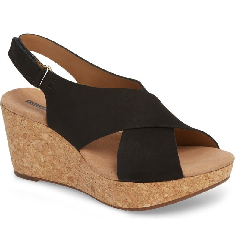 CLARKS<SUP>®</SUP> Annadel Eirwyn Wedge Sandal, Main, color, BLACK NUBUCK