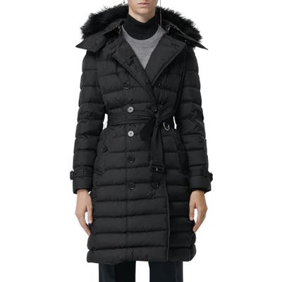 Burberry Dalmerton Quilted Down Puffer Coat With Removable Genuine Shearling Trim, Black