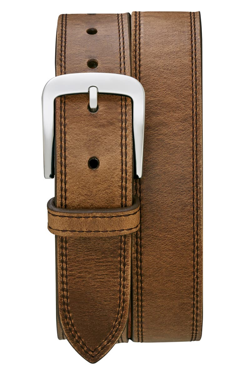 SHINOLA Double Stitch Leather Belt, Main, color, DEEP BROWN