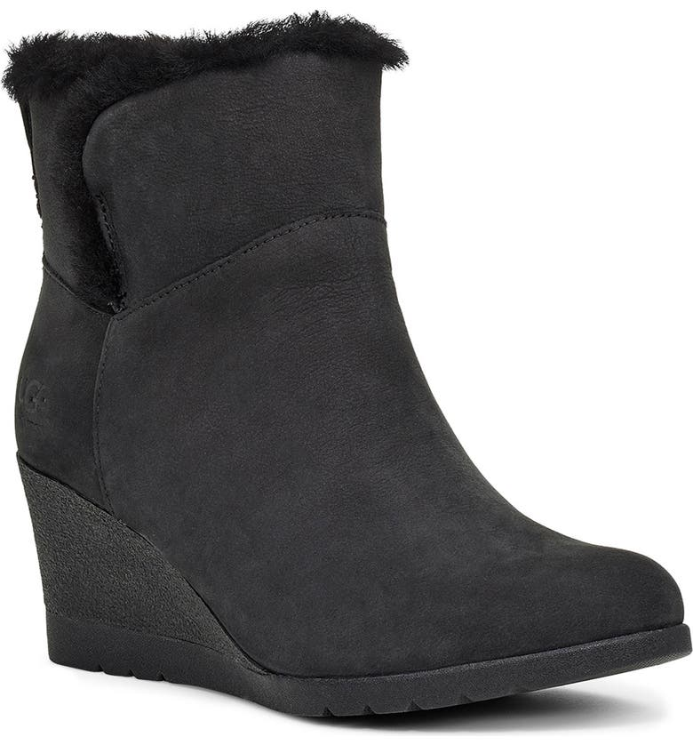 UGG<SUP>®</SUP> Devorah Waterproof Wedge Boot, Main, color, BLACK SUEDE
