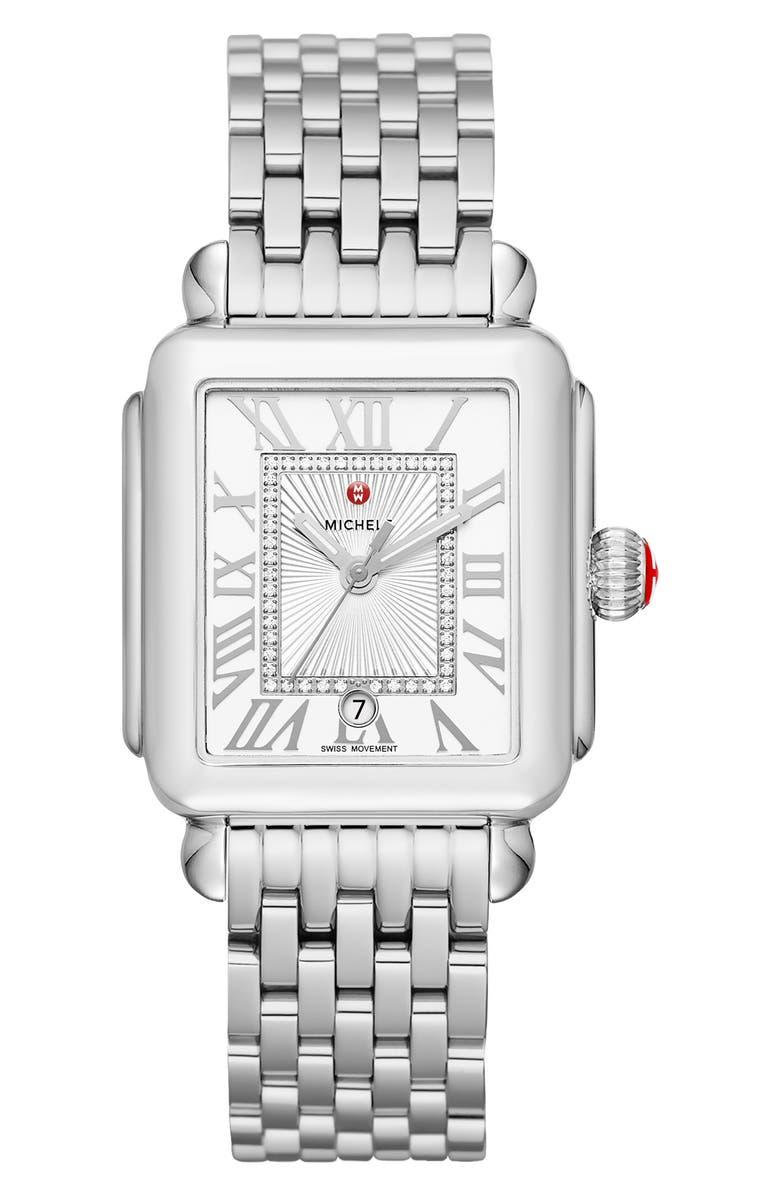 MICHELE Deco Madison Diamond Dial Watch Head & Bracelet, 33mm, Main, color, SILVER