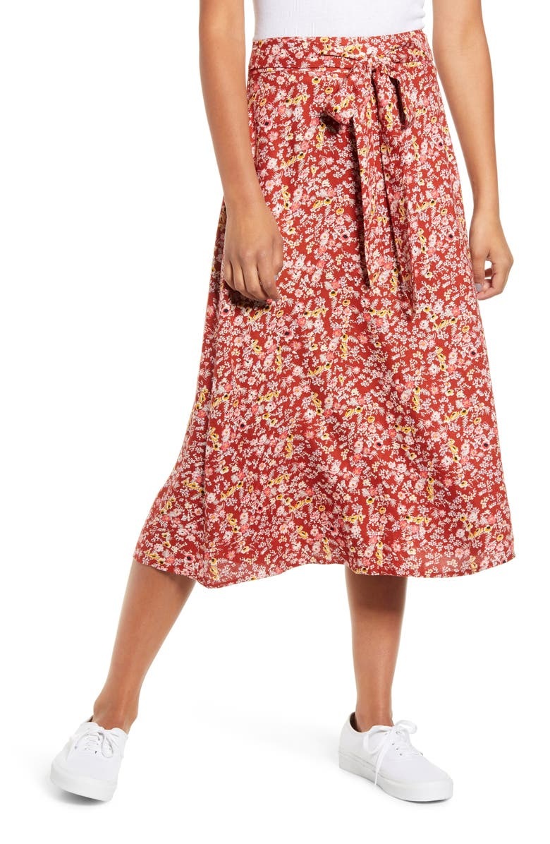 LOVE, FIRE Tie Waist Floral Print Midi Skirt, Main, color, BURGUNDY FLORAL