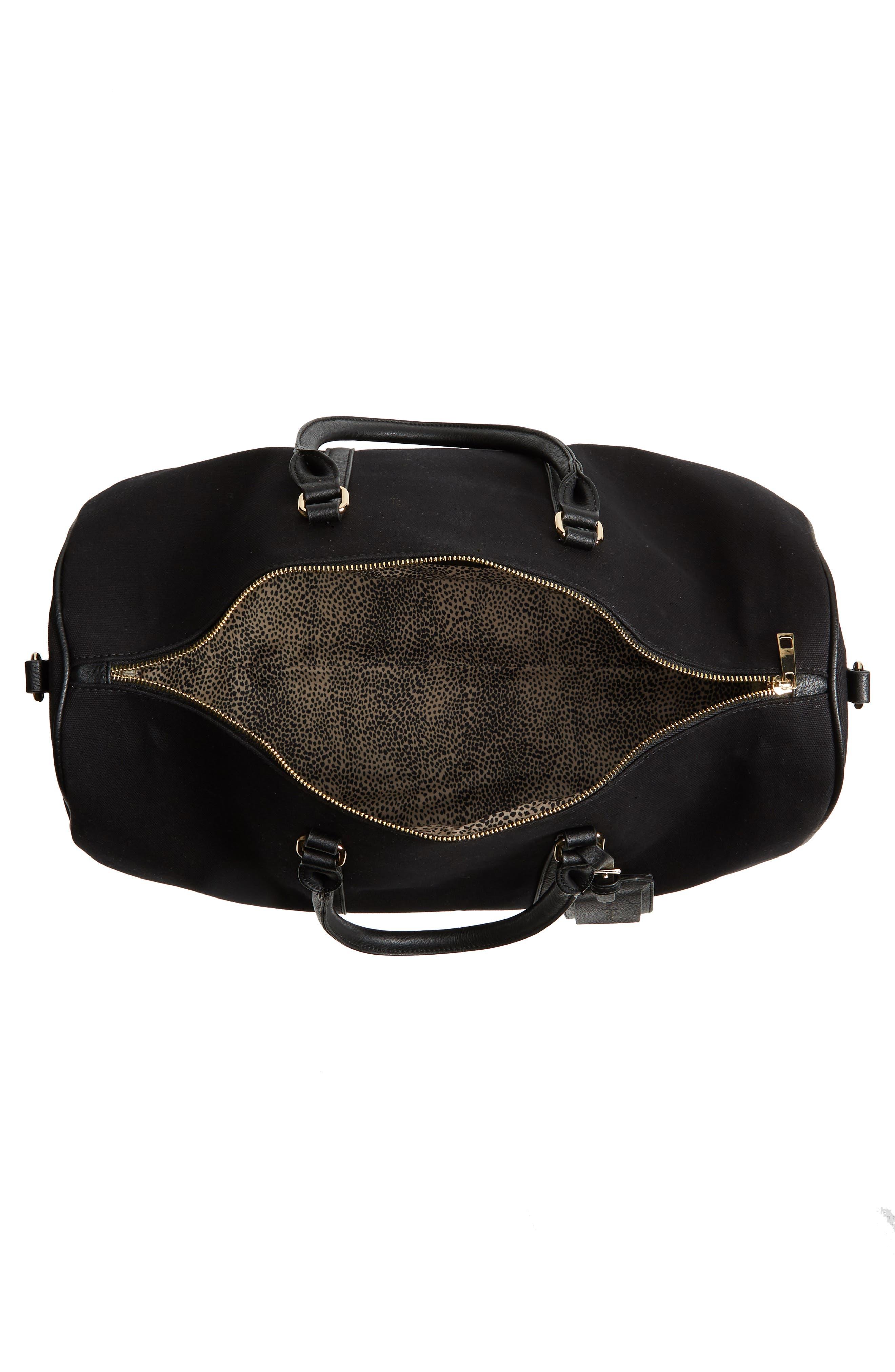 ,                             Lacie Faux Leather Duffle Bag,                             Alternate thumbnail 5, color,                             BLACK CANVAS