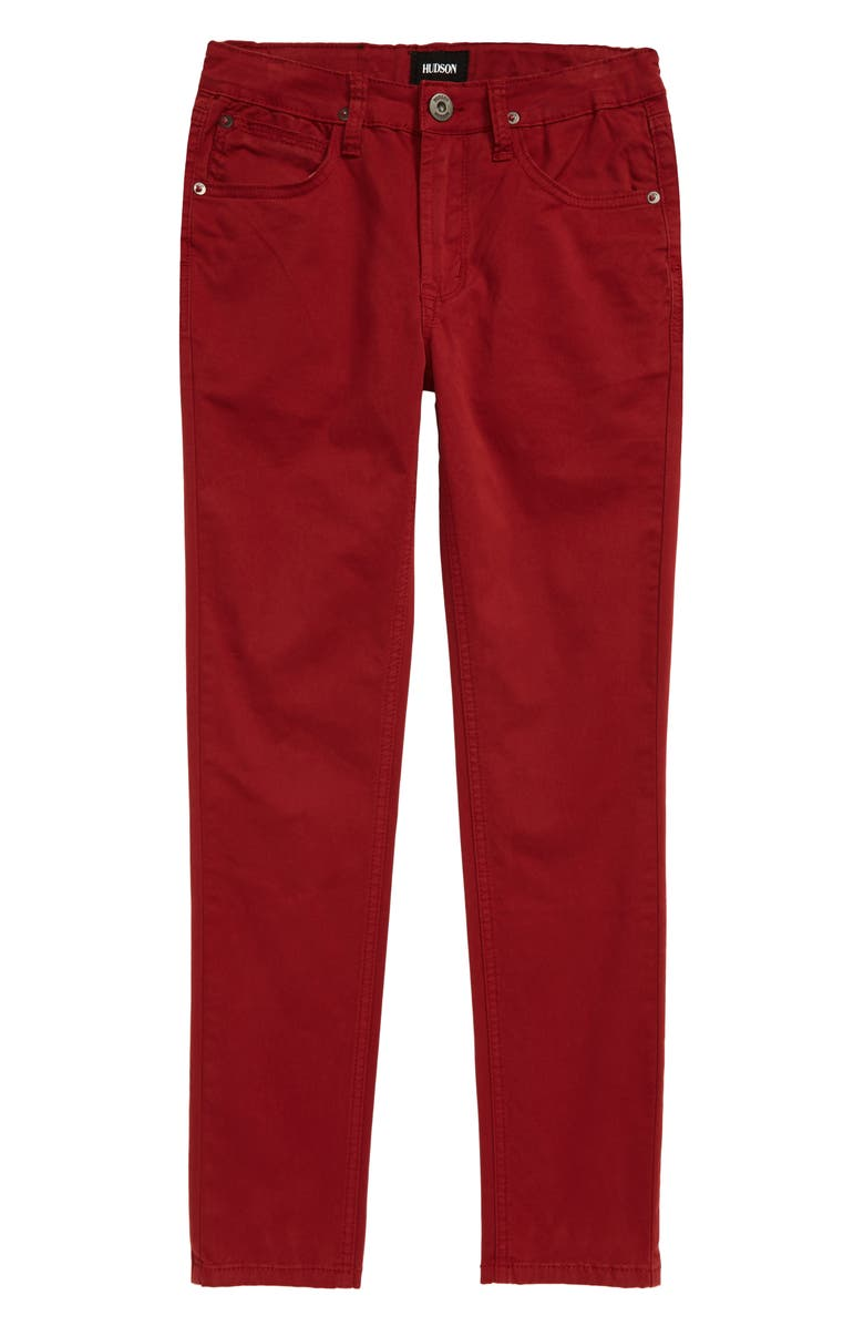 HUDSON JEANS Jagger Slim Straight Leg Twill Pants, Main, color, OX BLOOD