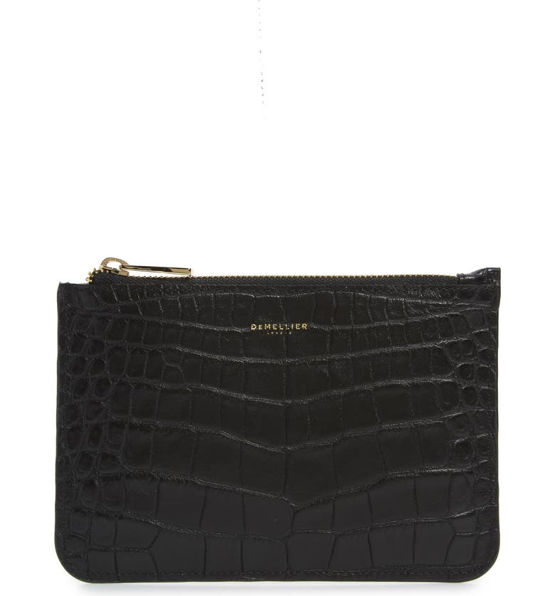 DEMELLIER Brooklyn Croc Embossed Leather Clutch, Main, color, BLACK CROC EFFECT