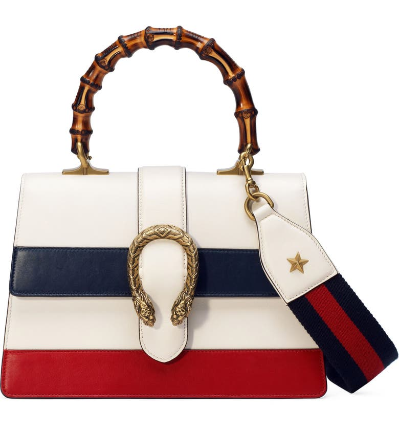 GUCCI Small Top Handle Leather Shoulder Bag, Main, color, MYSTIC WHITE/ BLUE/ RED