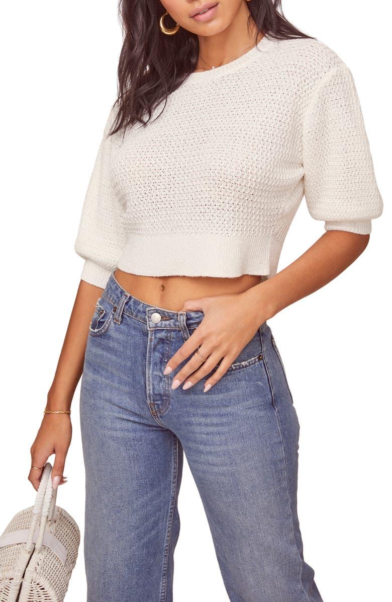 ASTR THE LABEL Cora Crop Sweater, Main, color, WHITE