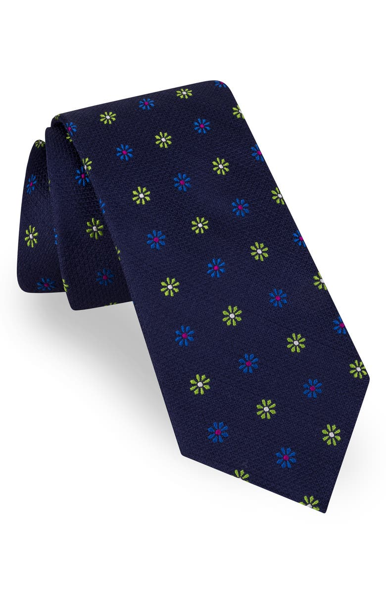 TED BAKER LONDON Medallion Flower Silk Tie, Main, color, NAVY