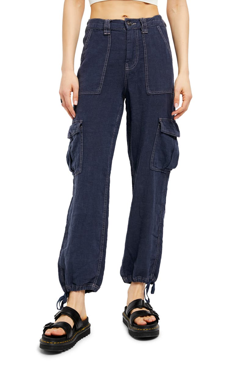 BDG URBAN OUTFITTERS Linen Skate Trousers, Main, color, NAVY