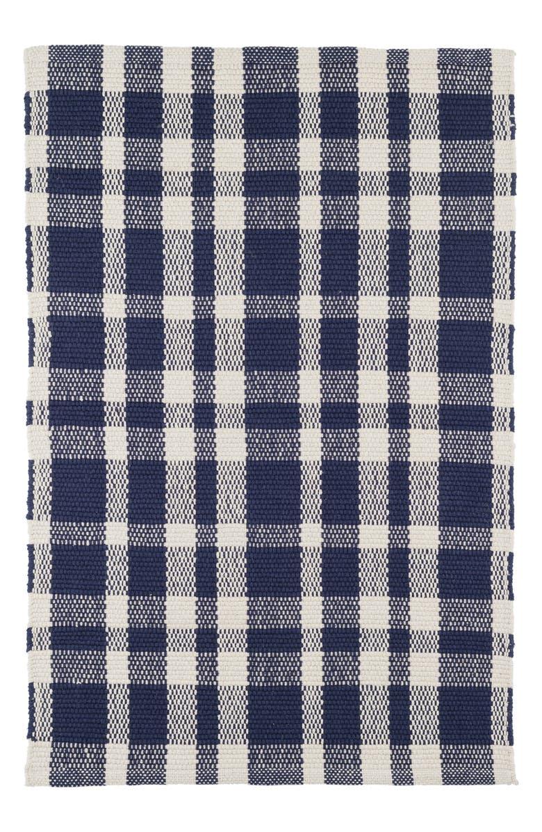 DASH & ALBERT Tattersall Hand Loomed Cotton Rug, Main, color, INDIGO