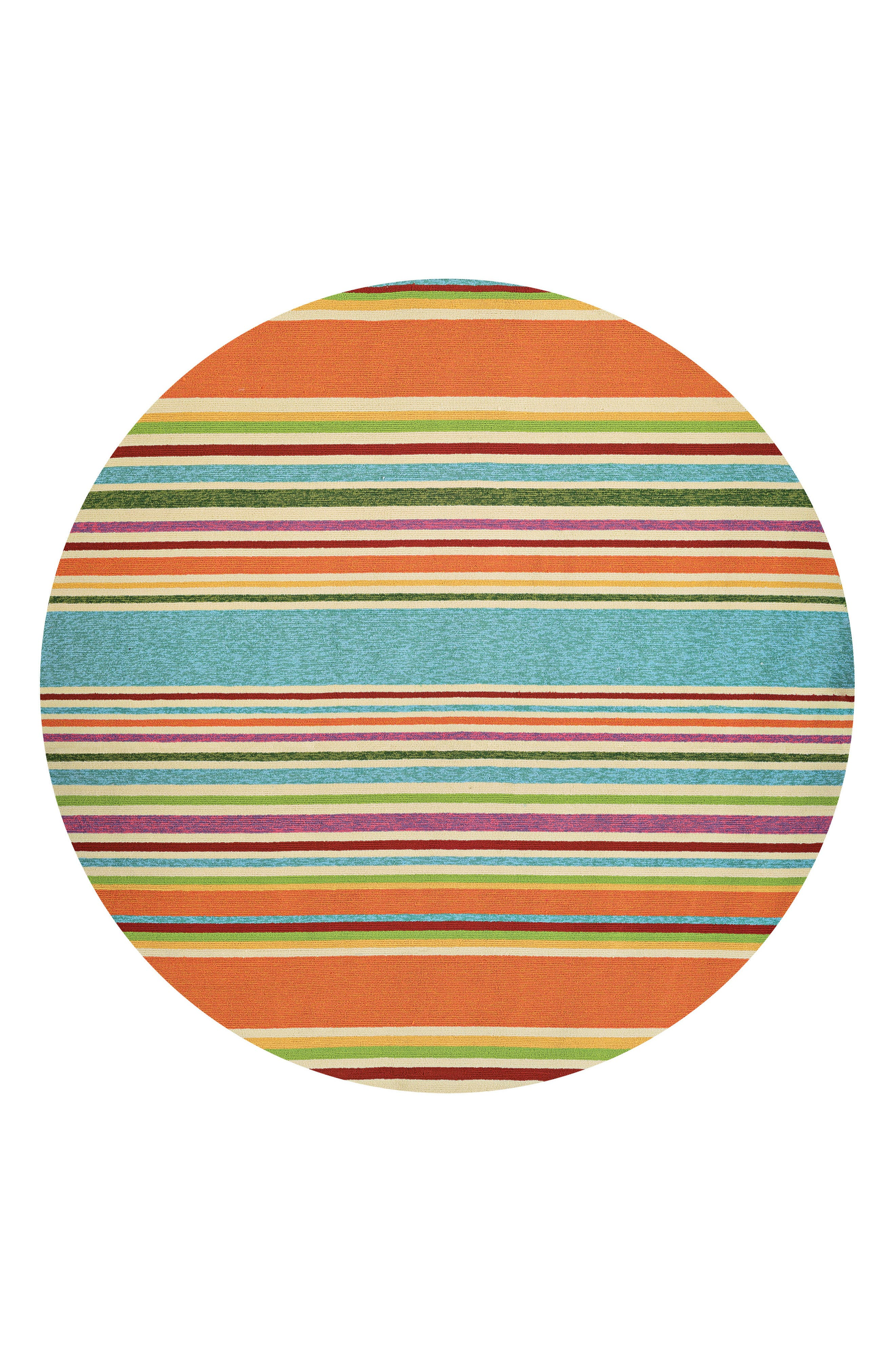 Fresh, delightful rainbow stripes enliven a versatile rug hooked in fade-resistant polypropylene, making it great for high-traffic areas both inside and outside. Style Name: Couristan Sherbet Stripe Indoor/outdoor Rug. Style Number: 5363882. Available in stores.