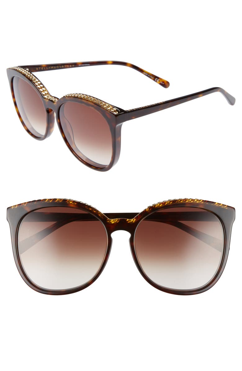 STELLA MCCARTNEY 59mm Cat Eye Sunglasses, Main, color, AVANA