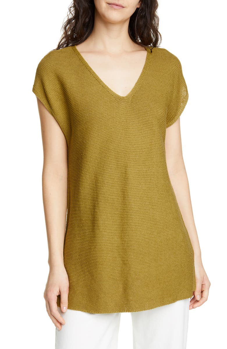EILEEN FISHER V-Neck Organic Linen & Cotton Tunic, Main, color, 388