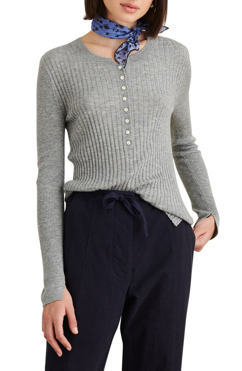 ALEX MILL Wool Blend Henley Sweater, Main, color, HEATHER GRAY