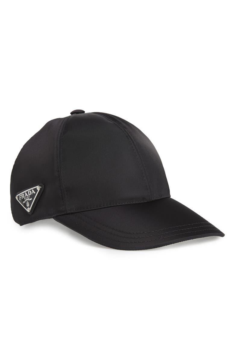 PRADA Tessuto Triangolo Nylon Baseball Cap, Main, color, BLACK