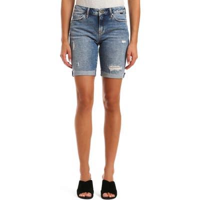 Mavi Jeans Alexis Raw Hem Denim Bermuda Shorts, Blue