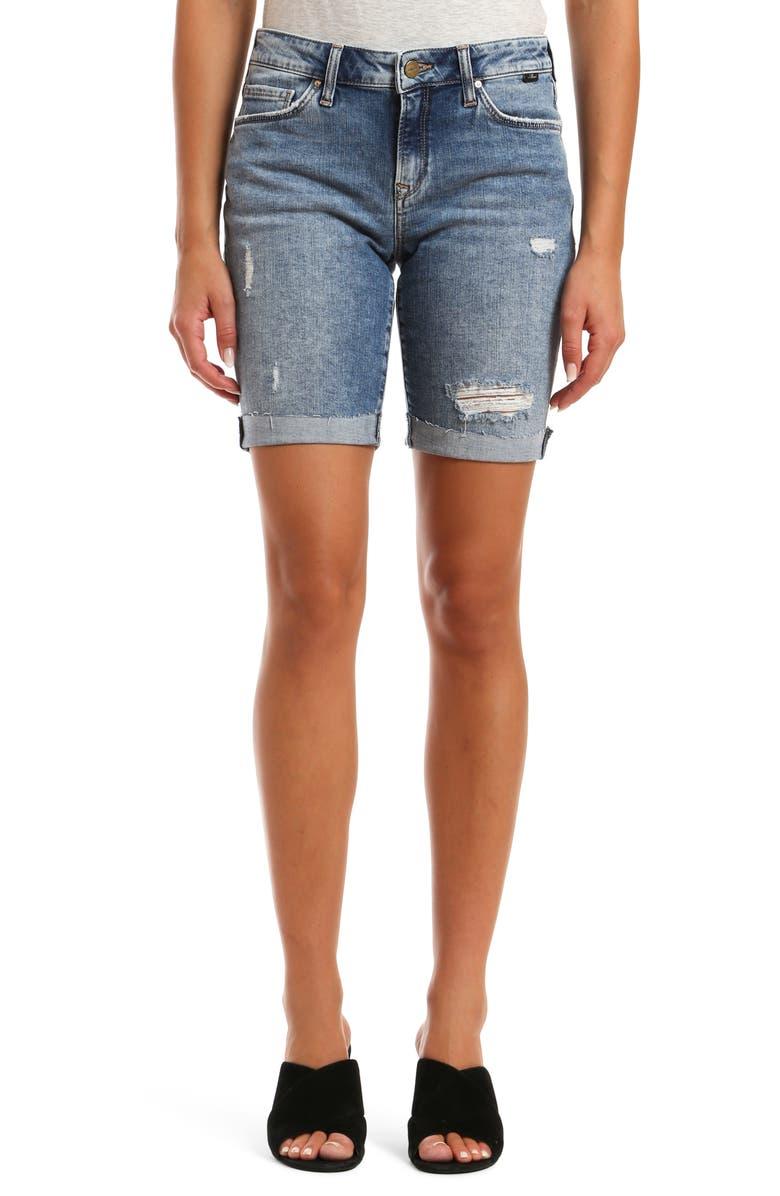 MAVI JEANS Alexis Raw Hem Denim Bermuda Shorts, Main, color, 420