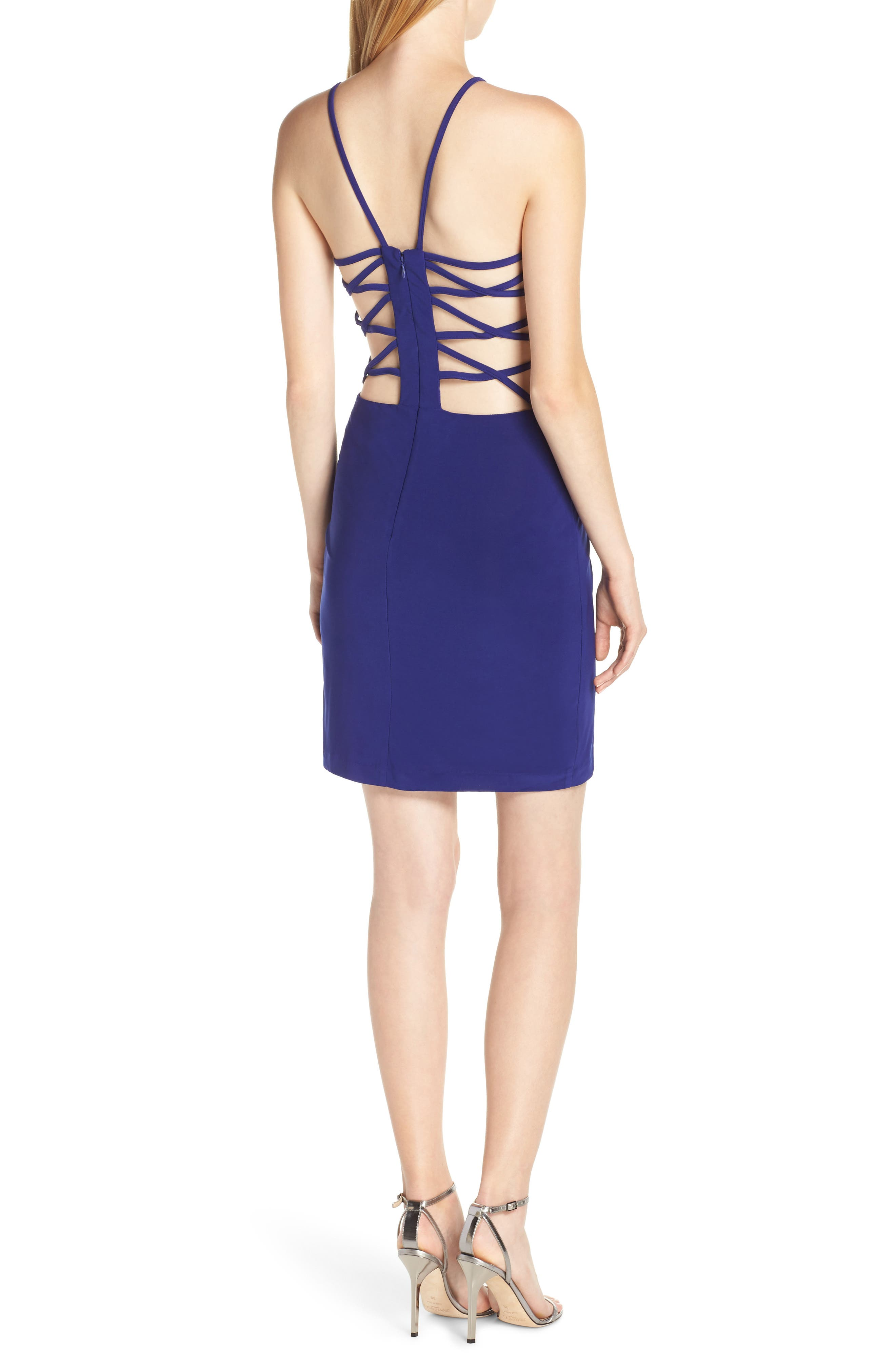 ,                             Strappy Back Cocktail Sheath,                             Alternate thumbnail 2, color,                             ELECTRIC BLUE