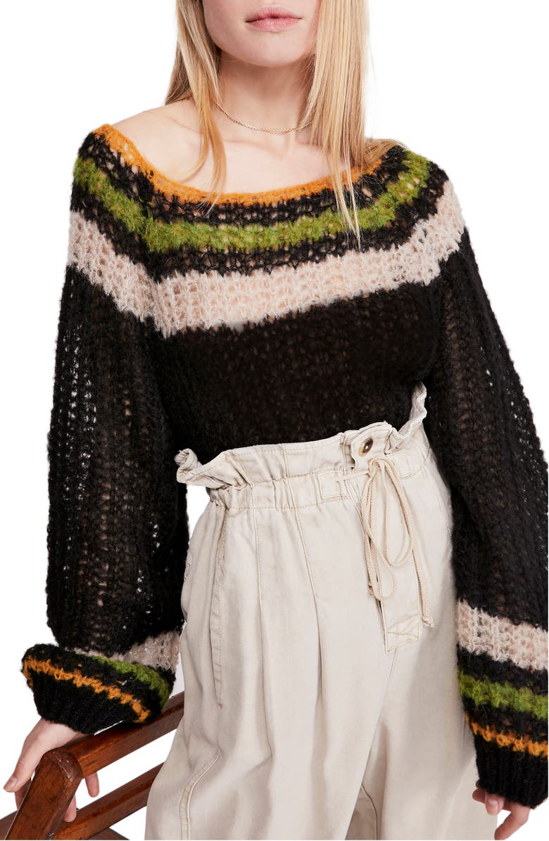 FREE PEOPLE Reach for the Stars Wide Neck Sweater, Main, color, BLACK COMBO