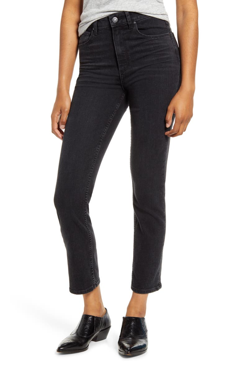 PAIGE Sarah High Waist Slim Straight Leg Jeans, Main, color, BLACK WILLOW