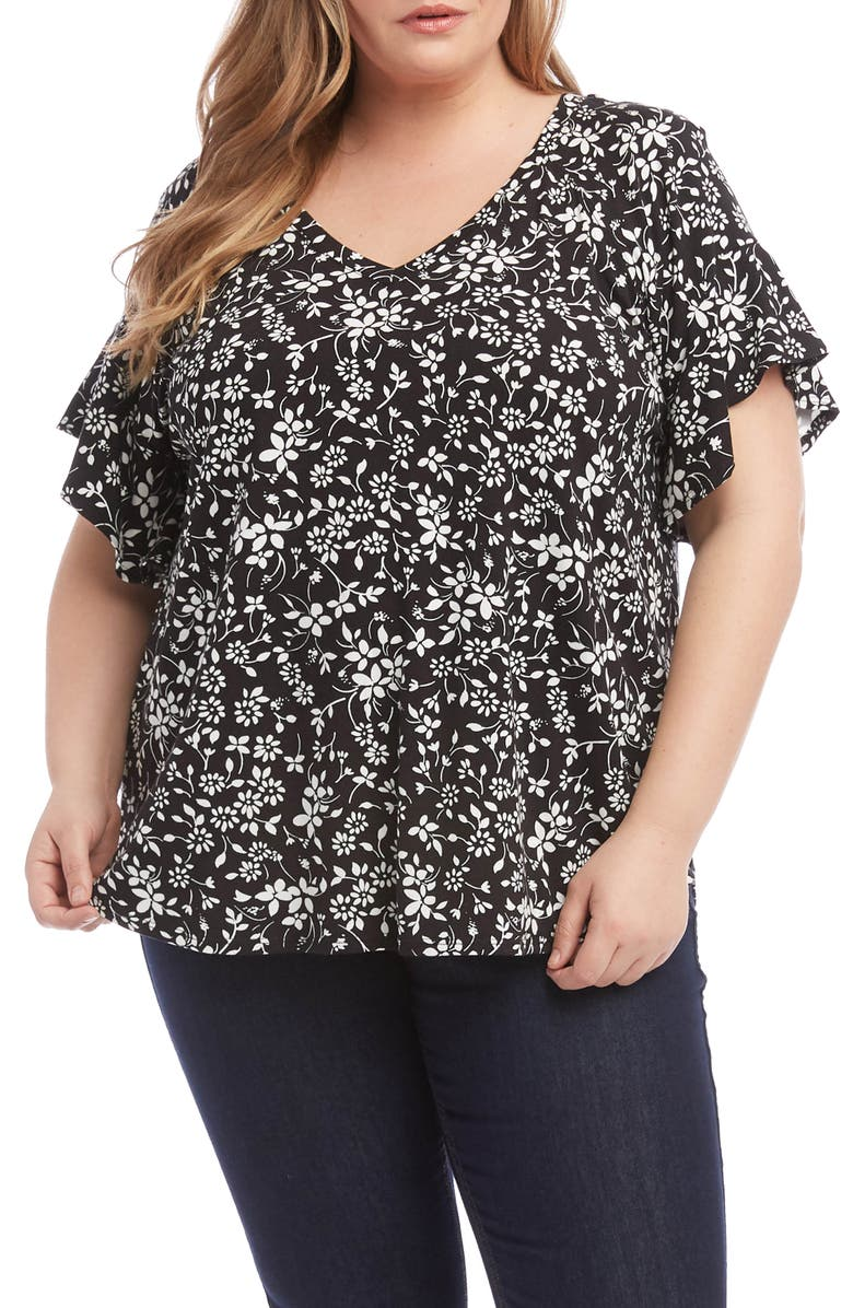 KAREN KANE Ruffle Sleeve Top, Main, color, BLACK WITH OFF WHITE