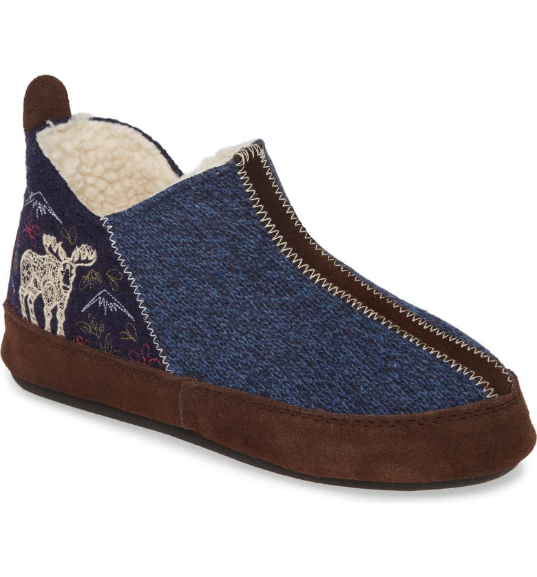 ACORN 'Forest' Bootie Slipper, Main, color, NAVY MOOSE WOOL