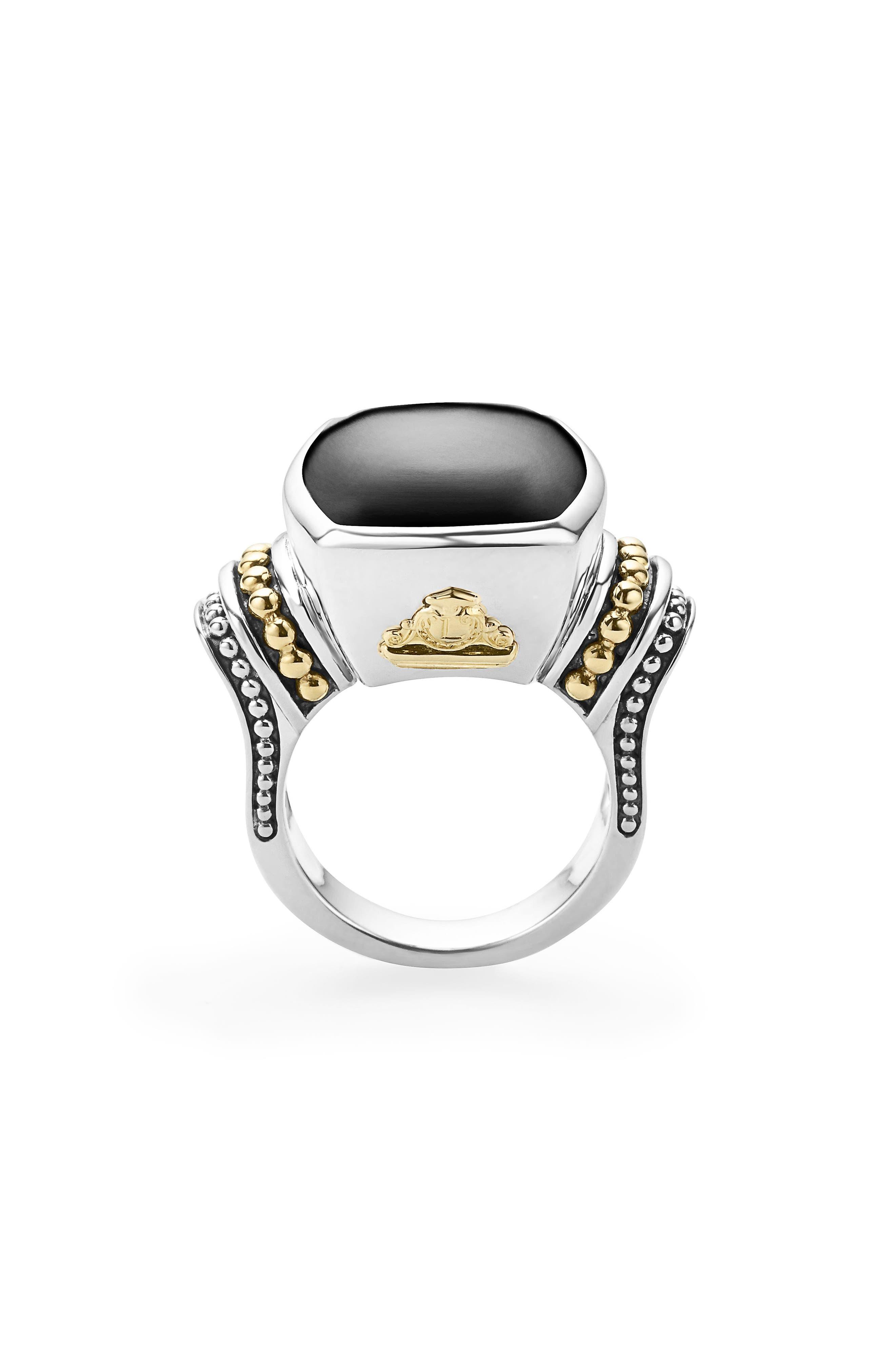 ,                             'Caviar Color' Large Semiprecious Stone Ring,                             Alternate thumbnail 5, color,                             BLACK ONYX