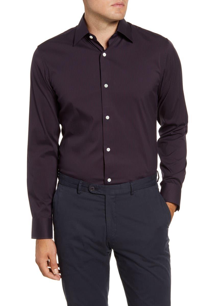 BONOBOS Trim Fit Stripe Dress Shirt, Main, color, ROLLING HILLS - CHOCOLATE